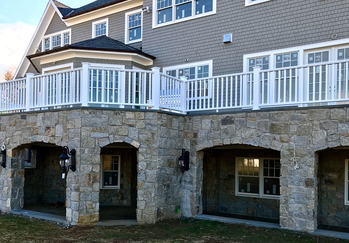 Stone home and porch area