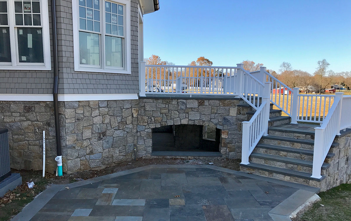 Stone stairs and porch