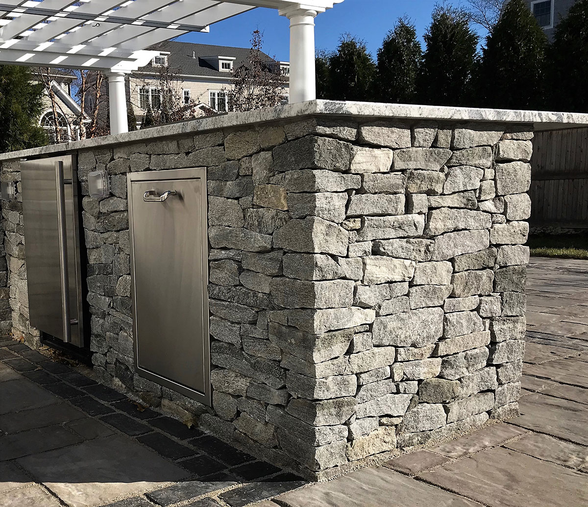 Outdoor stone kitchen area
