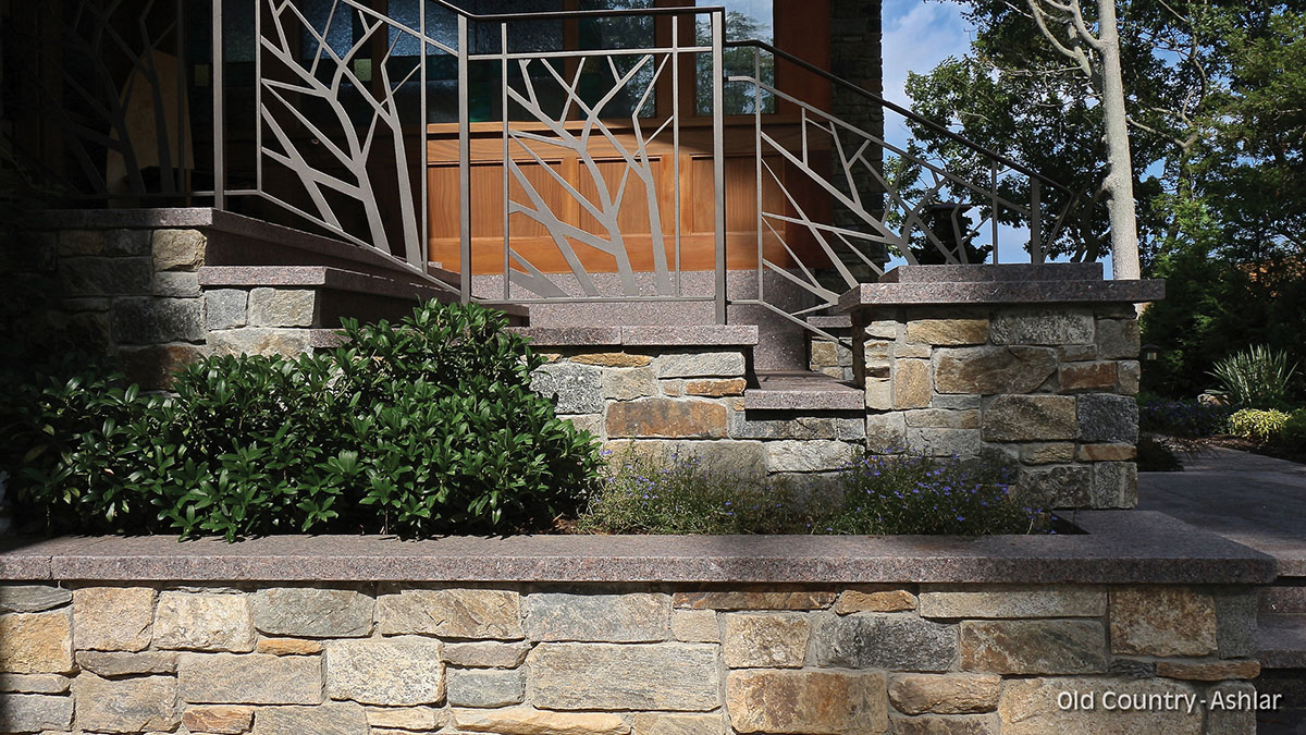 Stone garden bed and porch