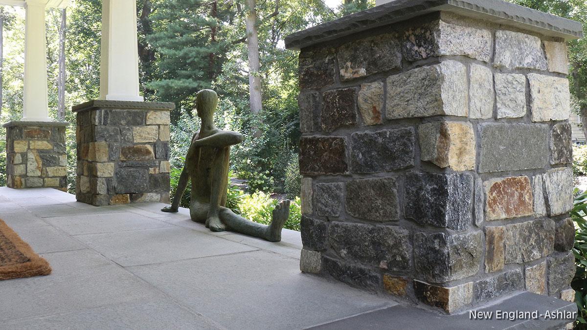 Stone pillars on porch