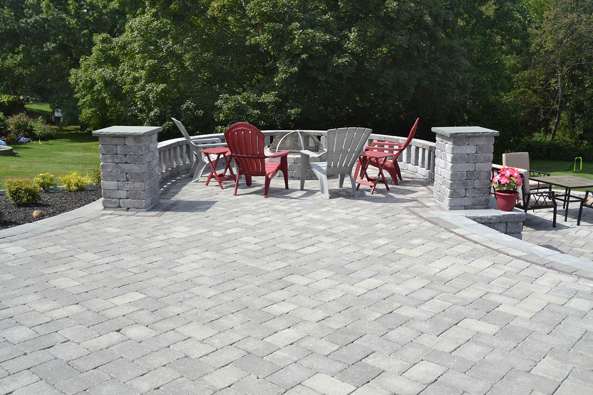 Stone patio and bonfire area