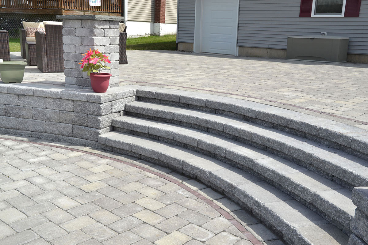 Stone patio with stone steps
