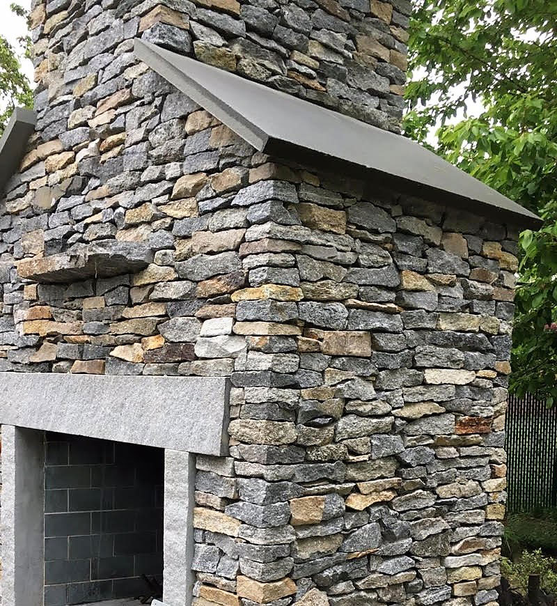 Outdoor stone chimney