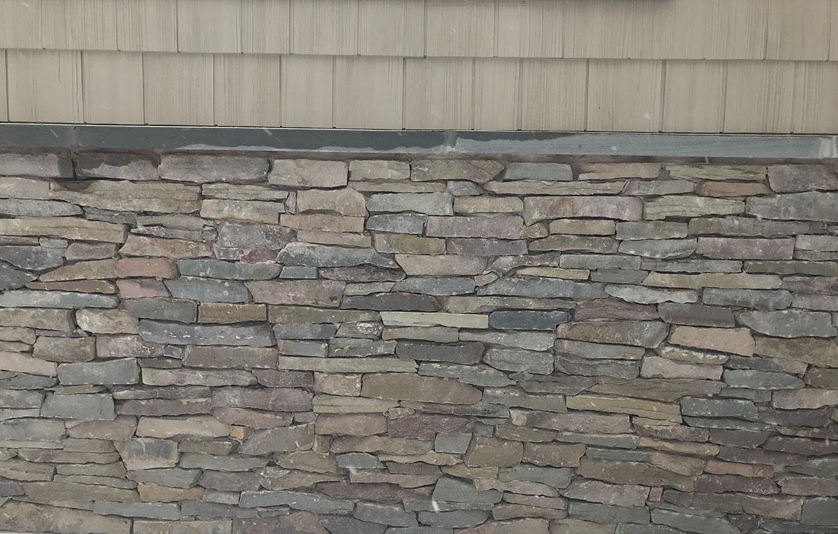 Exterior stone half wall