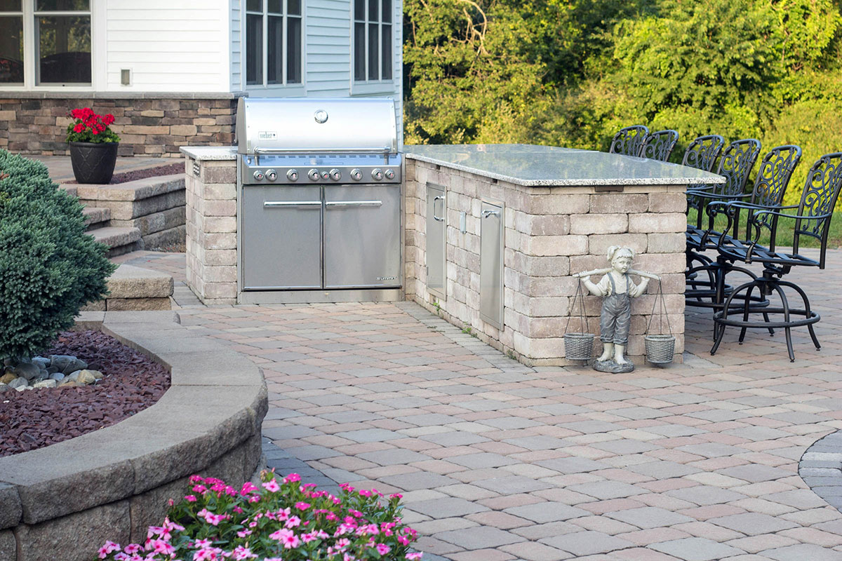 Stone patio and grilling area