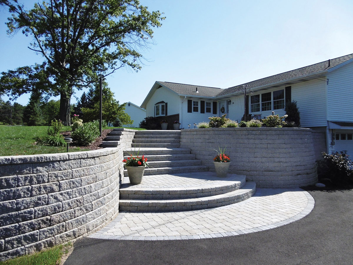 Stone steps and outdoor home area