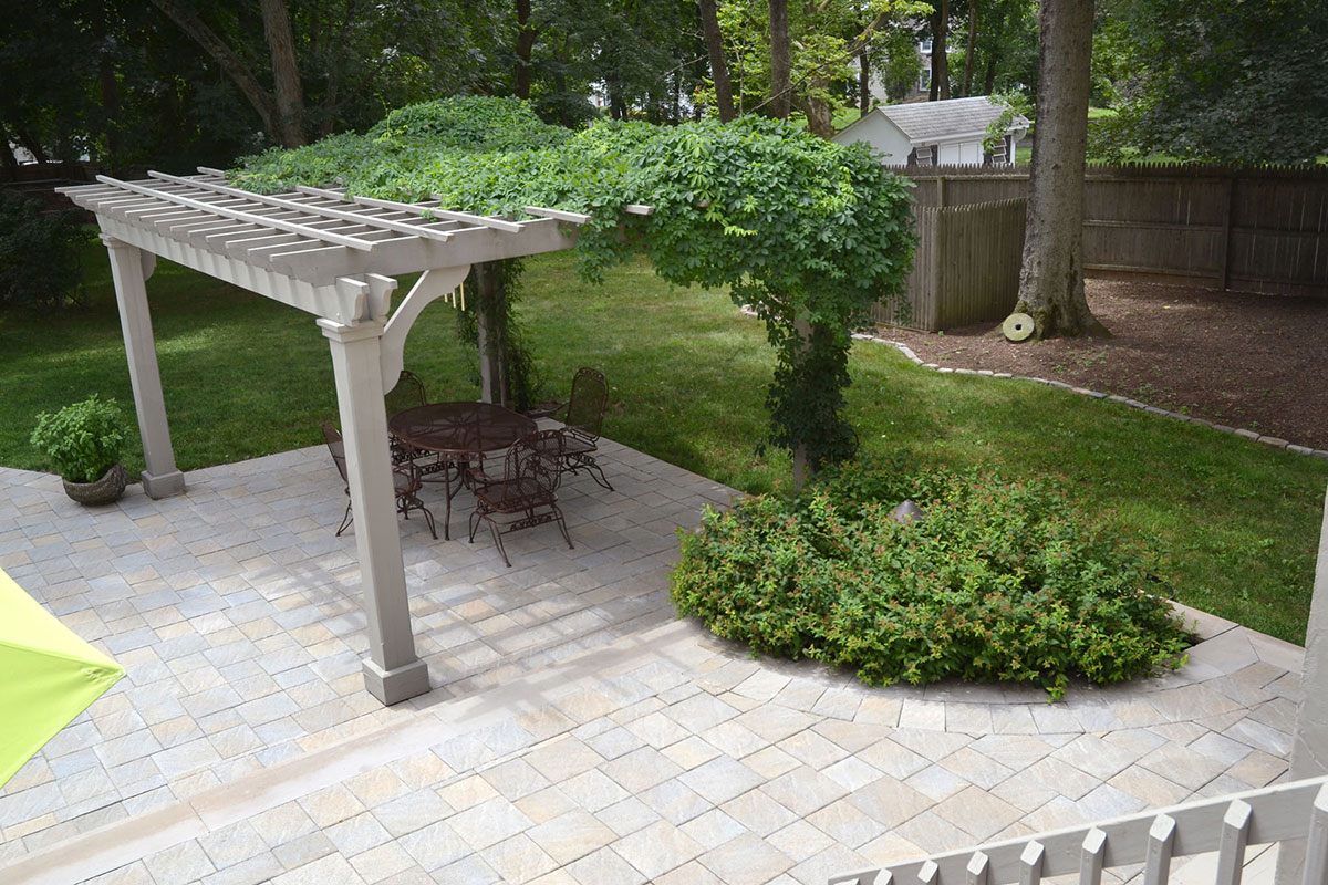 Stone patio in a backyard
