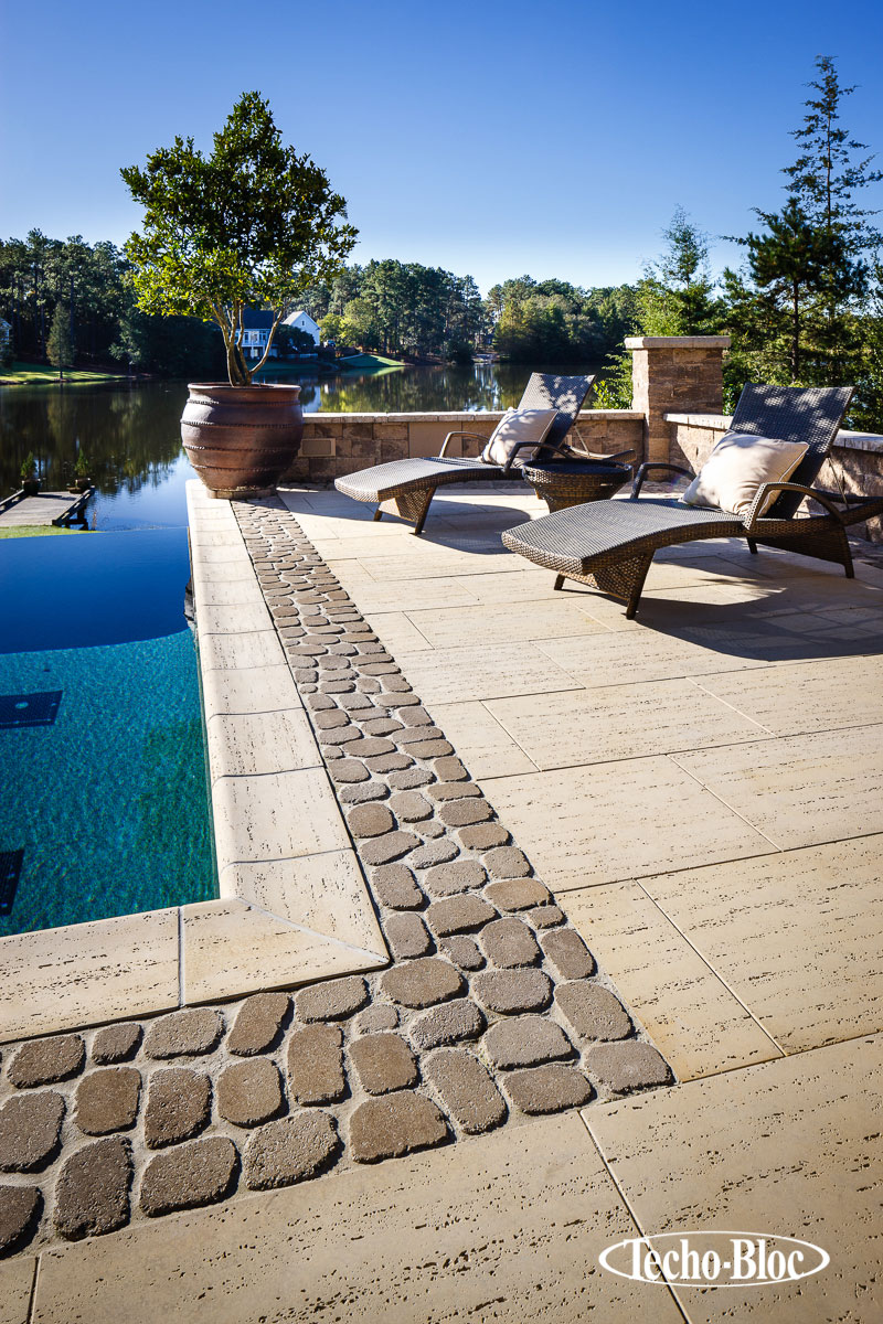 Stone pool side