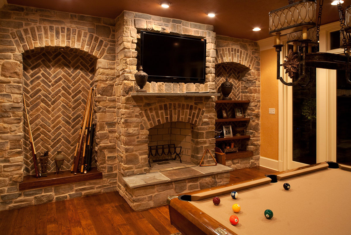 Brick and stone game room