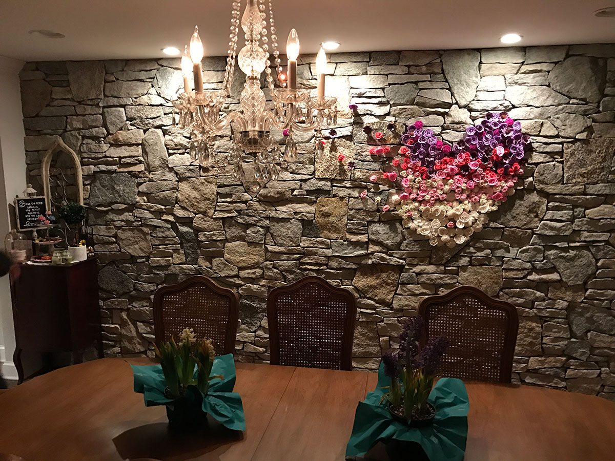Interior stone dining room wall