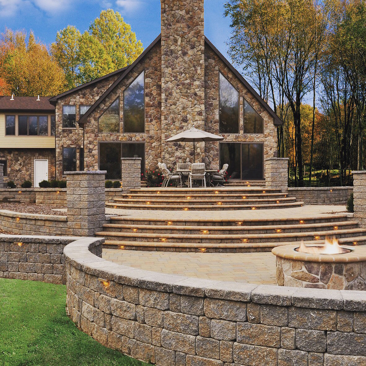 Stone home and outdoor area