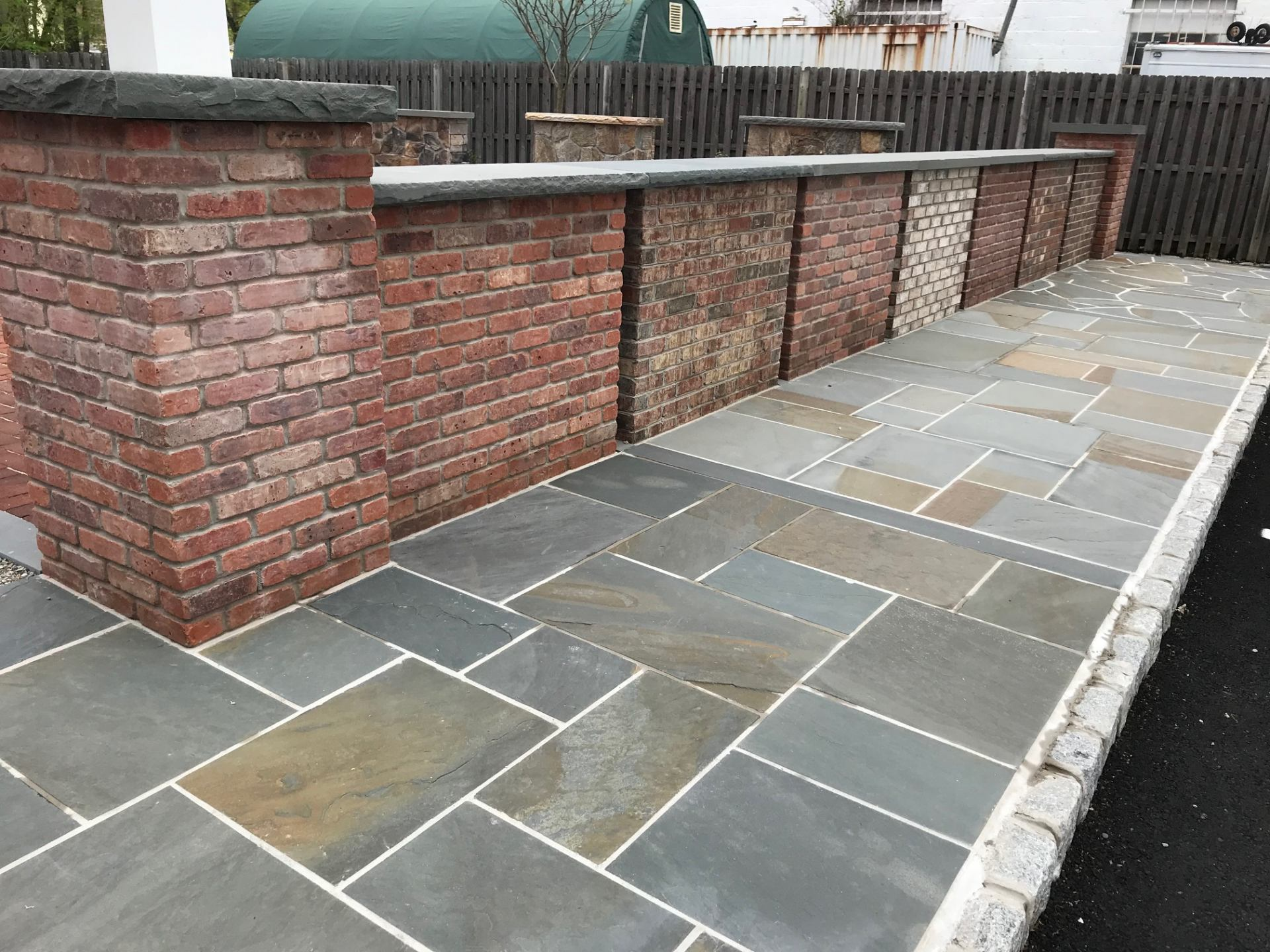 brick and bluestone display