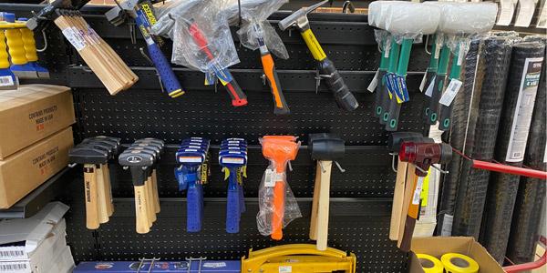 hammers and tools on display at morris brick
